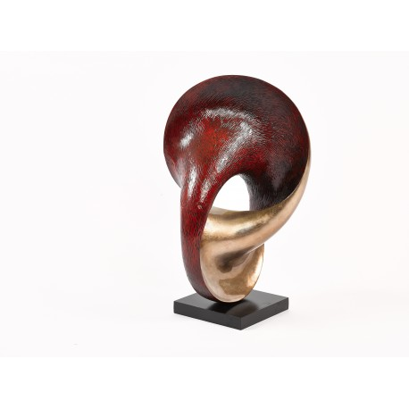 Tuba Copre - abstract sculpture in copper and red lacquer finish