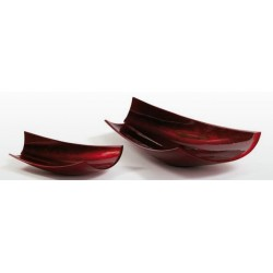 Paper bowl- sculpture in warm red lacquer finish