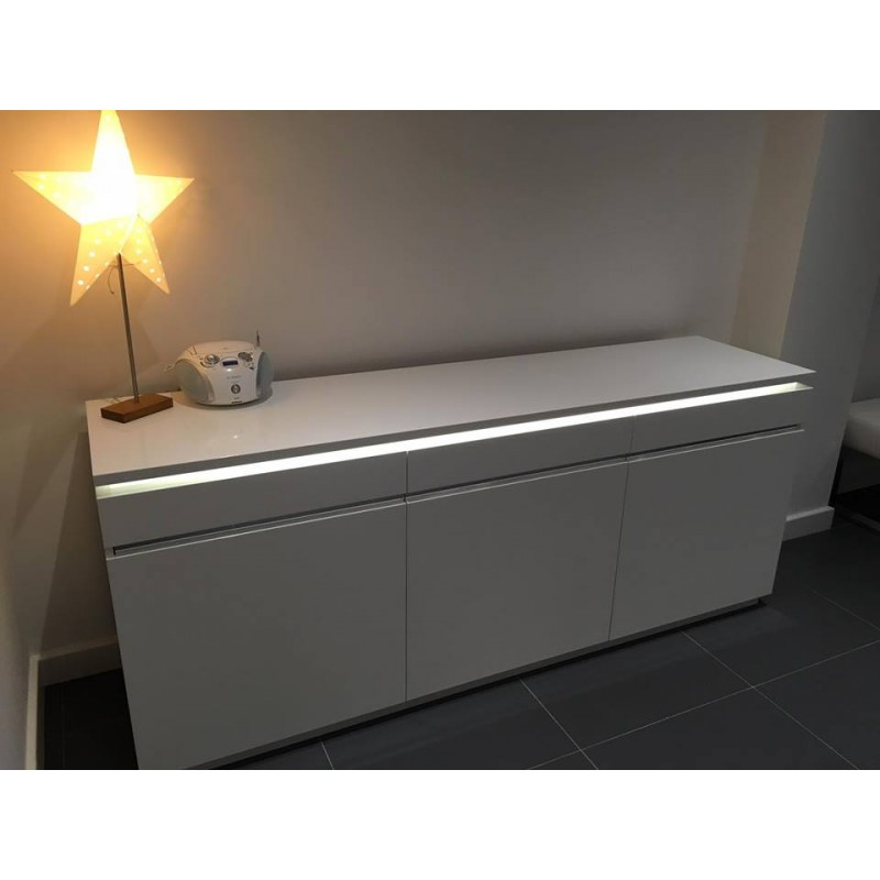 Orde White High Gloss Sideboard With Lights Sideboards