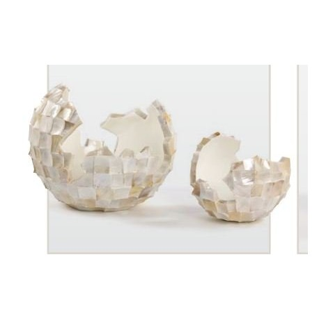 Cutt bowl- abstract planter square cutting shell in white finish