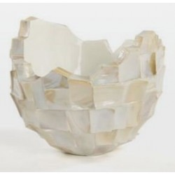 Broken bowl- abstract planter square cutting shell in white finish