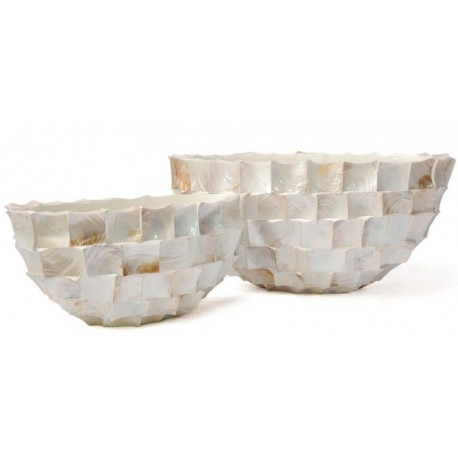 Oval bowl- abstract planter square cutting shell in white finish