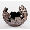 Cutt bowl- abstract planter square cutting shell in brown finish