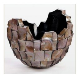 Broken bowl- abstract planter square cutting shell in brown finish