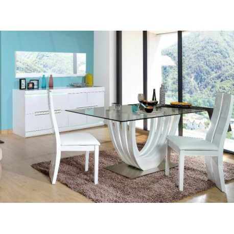 Ovio - white glass top table with high gloss finish