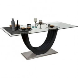 Ovio - glass top table with black high gloss finish
