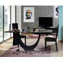 Ovio - glass top table with black high gloss finish