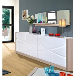 Elypse II - white lacquer sideboard with oak wood body
