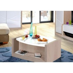 Elypse- white lacquer coffee table with oak wood body