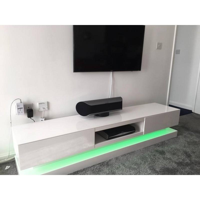 Sven   High Gloss TV Unit With LED Lights   TV Stands (558)   Sena Home  Furniture