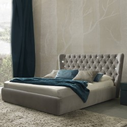 Maxim modern Italian upholstered bed, various colours and finishes