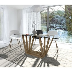 Selen -  glass and oak wood dinning table