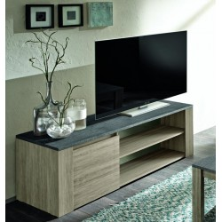 Elba - Small oak TV unit with marmor top imitation