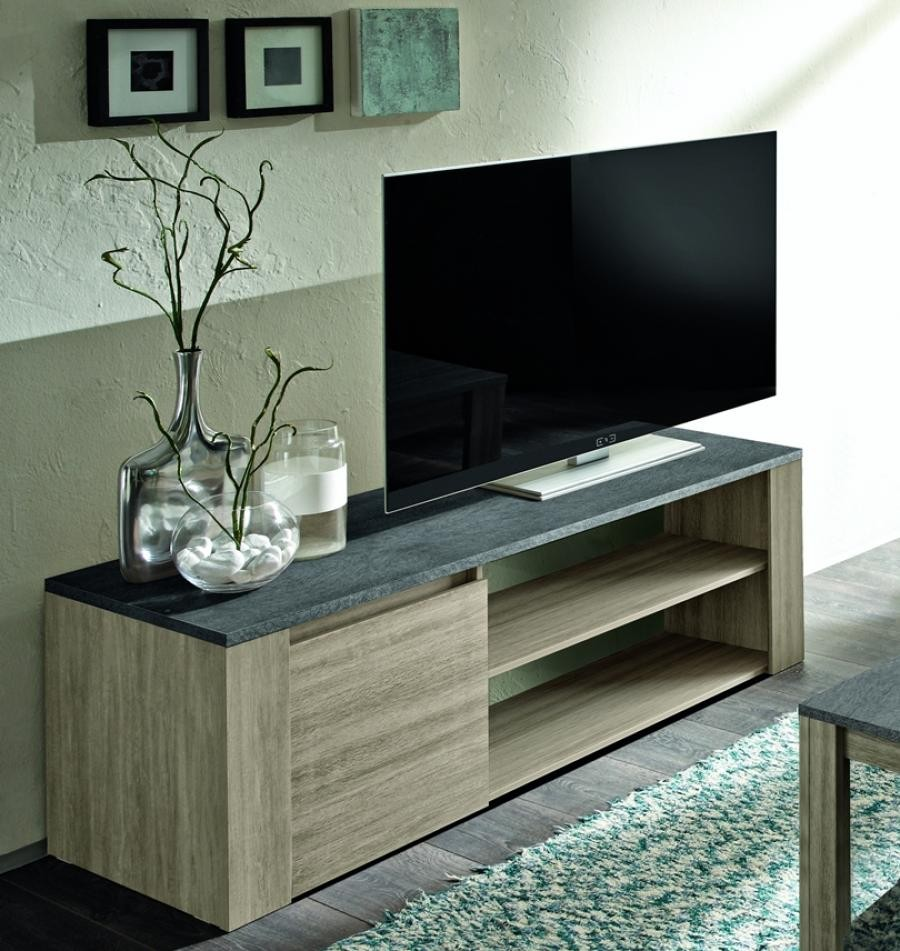 Elba Small Oak Tv Unit With Marmor Top Imitation Tv