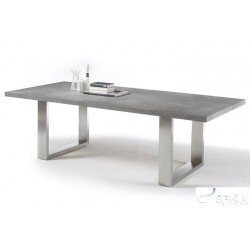 Marble grey dining table with stone imitation top stock clearance