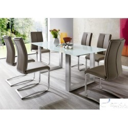 Aron  - glass dining table with steel legs