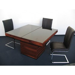 Square - glass topped extendable table