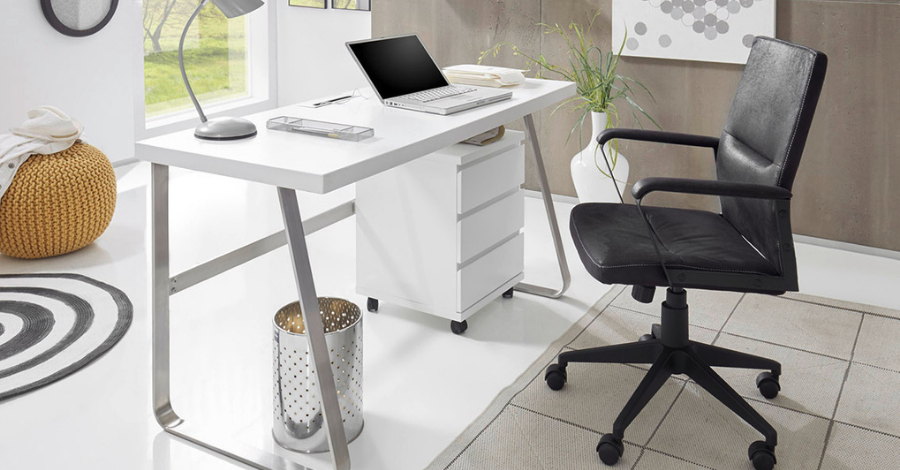 white office desk with a black chair