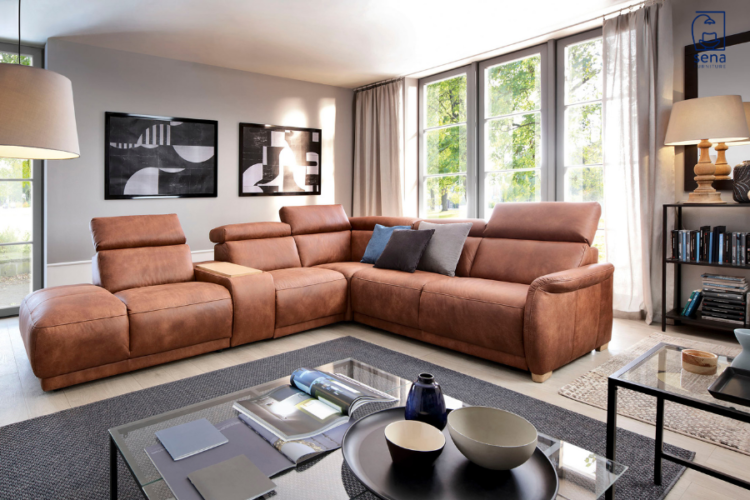 leather brown L-shaped Sofa in bright living room