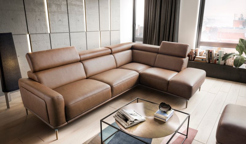 brown leather corner sofa with a gloss coffee table