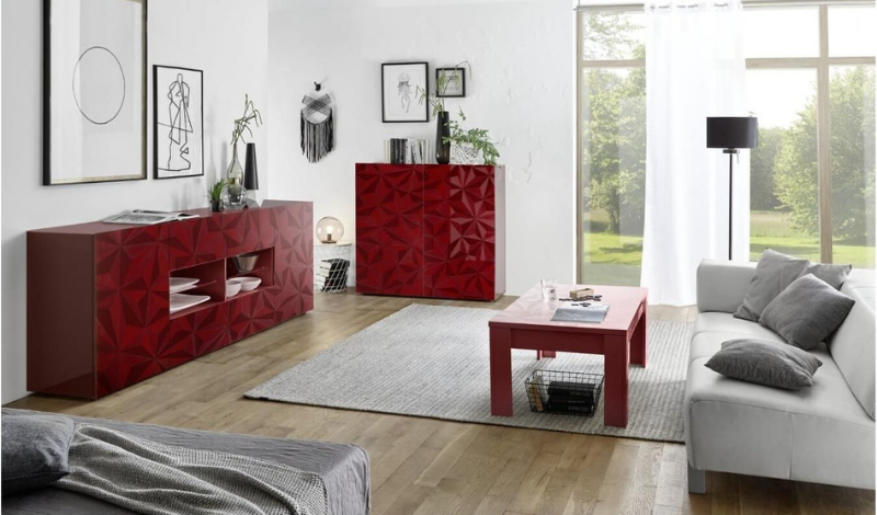bright living room with two red sideboards and a coffee table