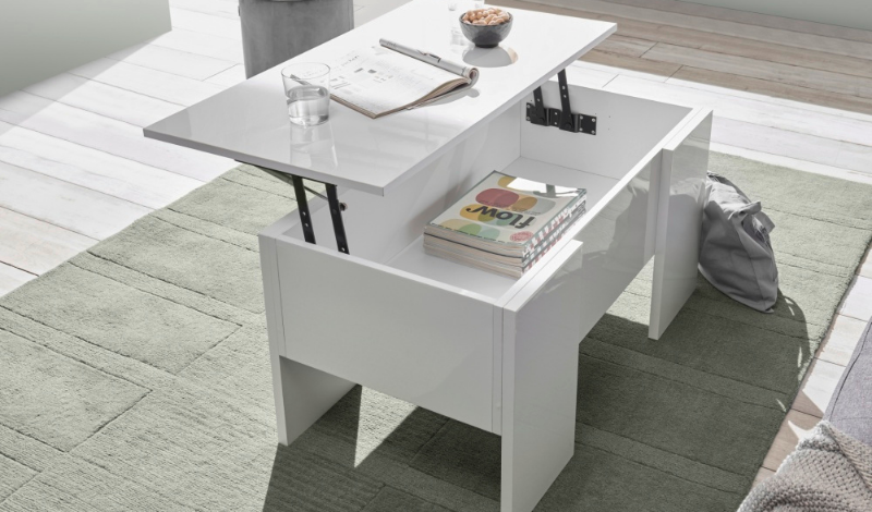 white coffee table with openable top