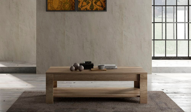 a minimalistic wooden coffee table in an empty room