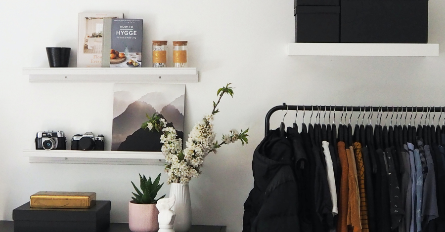hanging clothes and shelves
