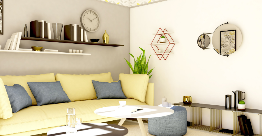 a yellow sofa by the wall with shelves