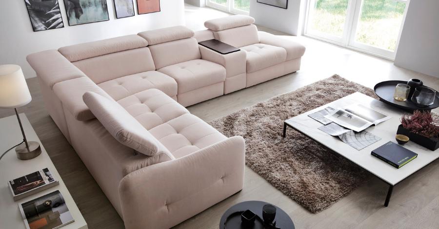a beige corner sofa
