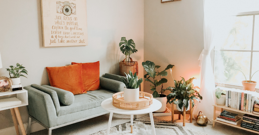 colorful living space with a light green couch, little coffee table and pot flowers