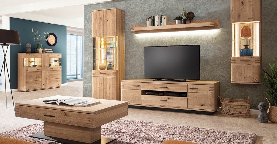 brown wooden TV set in the large living room